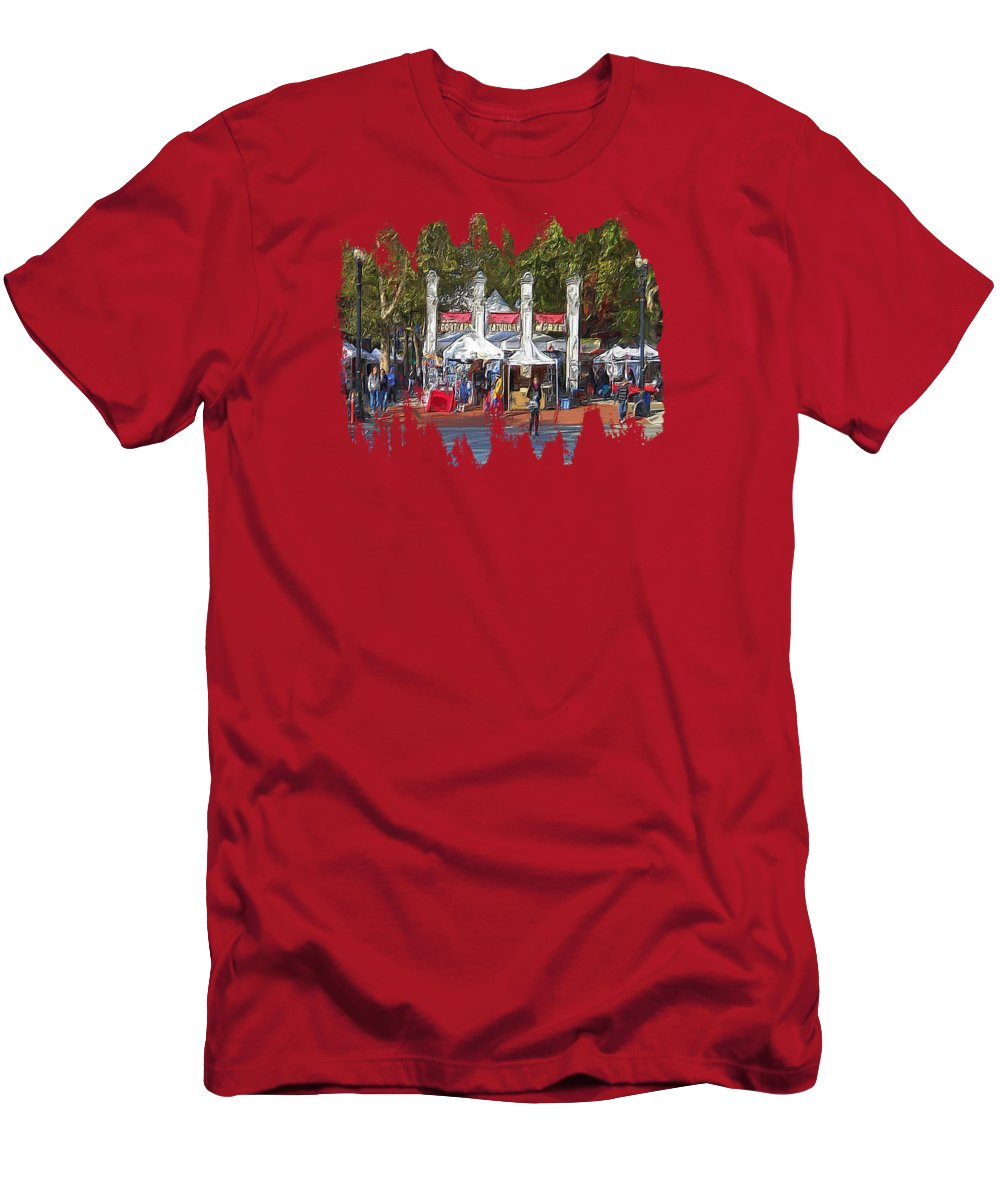 Hdr Men's T-Shirt (Athletic Fit) featuring the photograph Portland Saturday Market by Thom Zehrfeld
