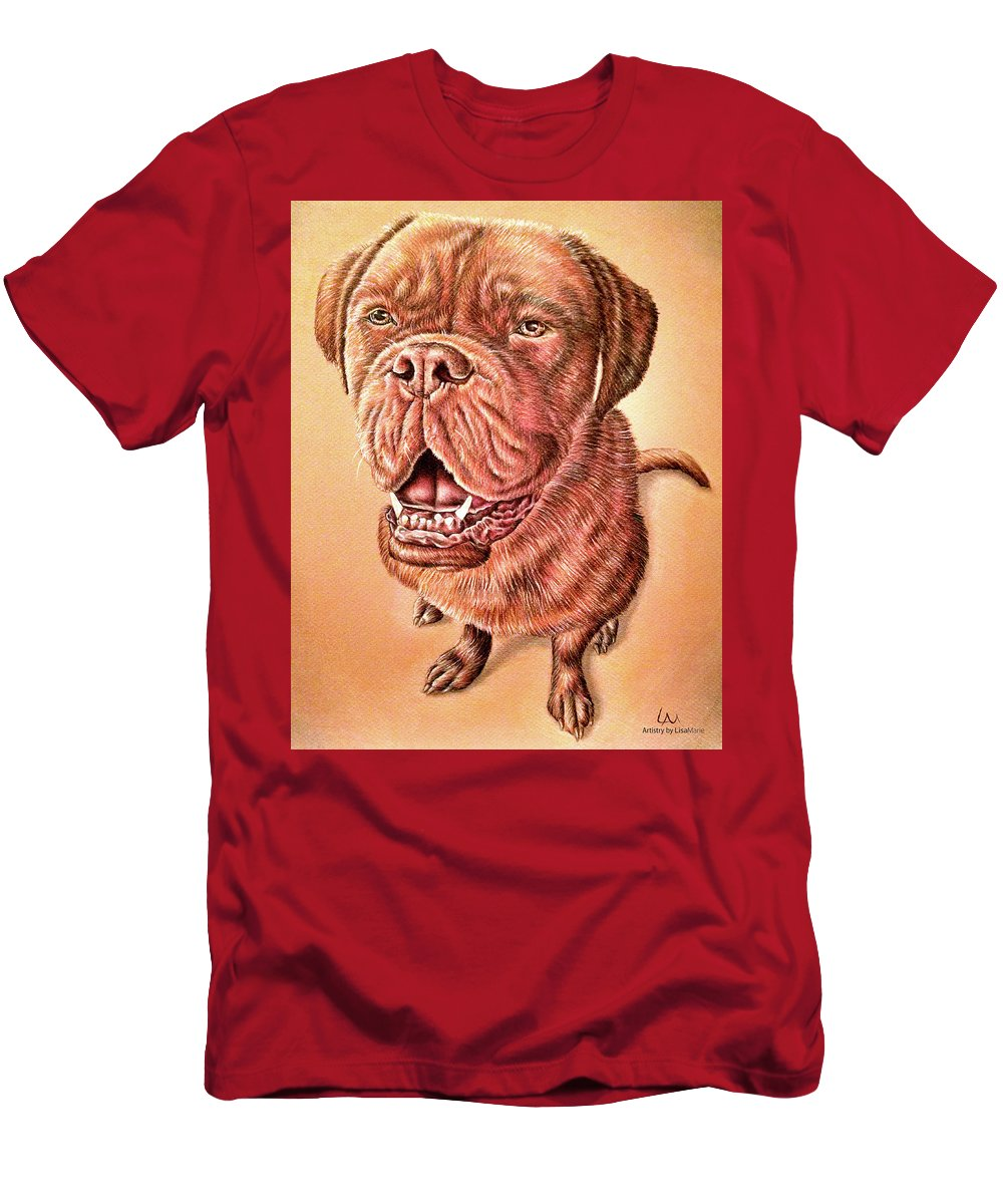 Dog Art Men's T-Shirt (Athletic Fit) featuring the drawing Portrait Drawing Of A Dog by Lisa Marie Szkolnik