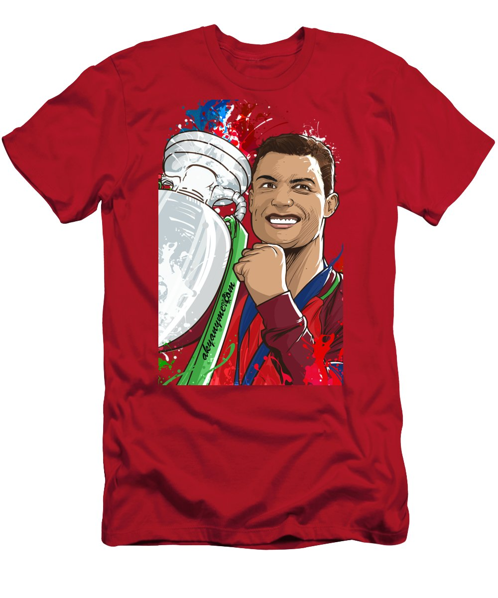 Euro Men's T-Shirt (Athletic Fit) featuring the painting Portugal Campeoes Da Europa by Akyanyme
