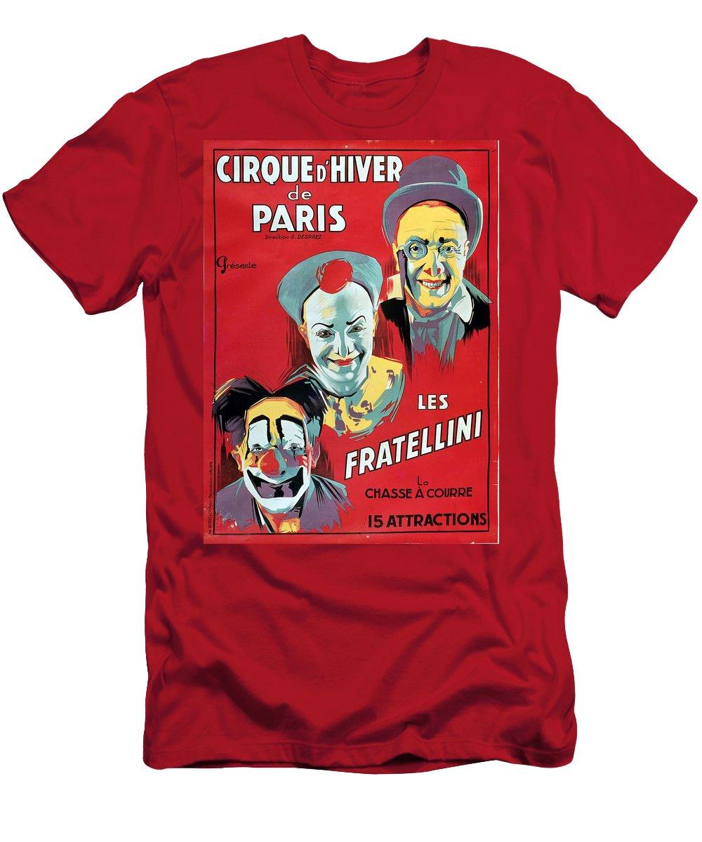 Poster Advertising The 'cirque D'hiver De Paris' Featuring The Fratellini Clowns Men's T-Shirt (Athletic Fit) featuring the painting Poster Advertising The Fratellini Clowns by French School