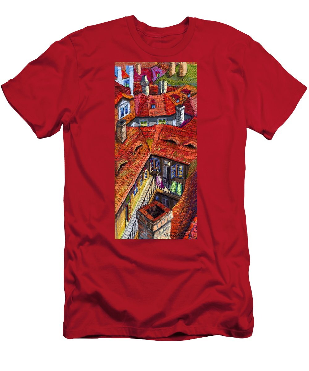 Pastel Men's T-Shirt (Athletic Fit) featuring the painting Prague Roofs 01 by Yuriy Shevchuk