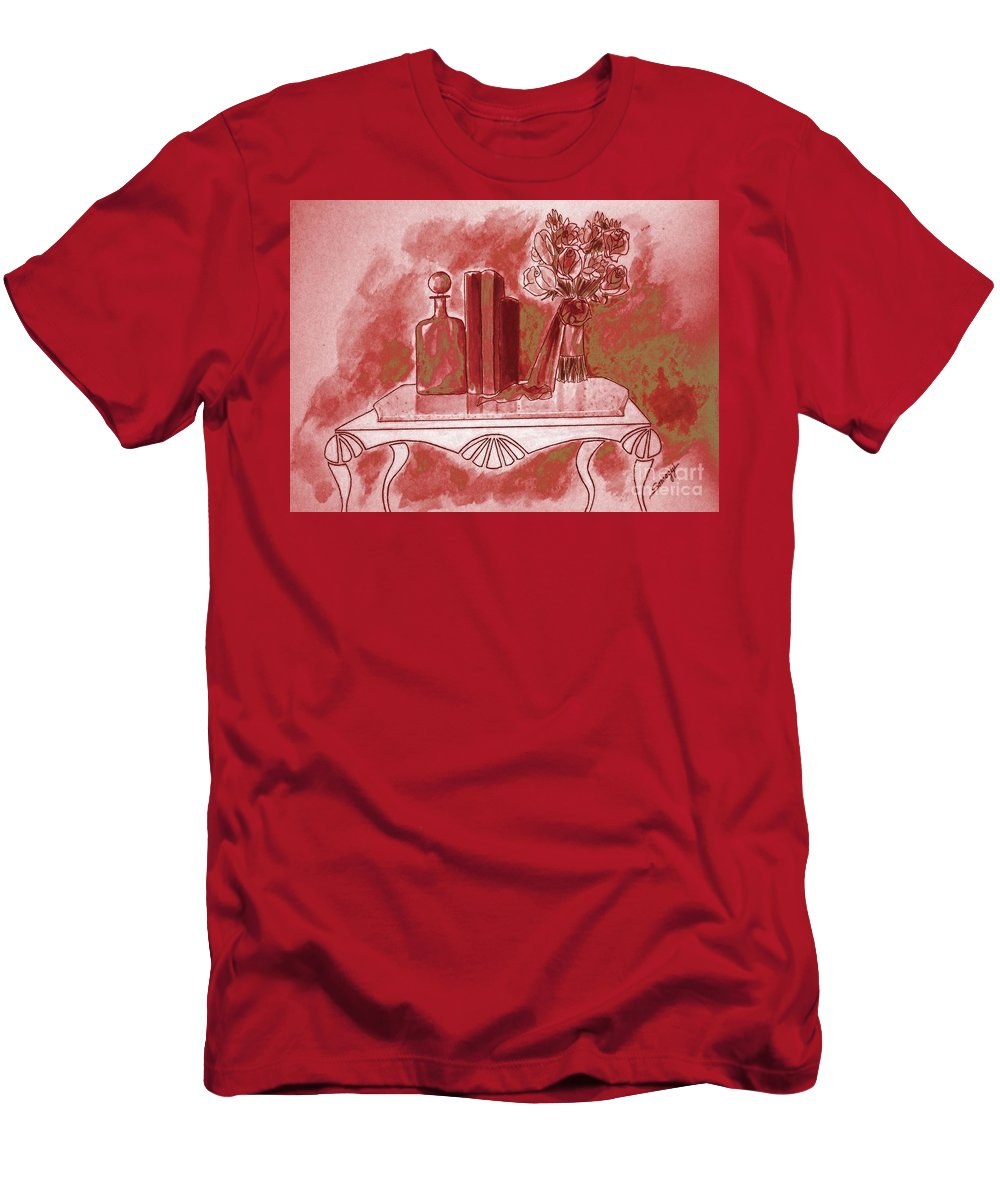 Tablescape Men's T-Shirt (Athletic Fit) featuring the painting Pretty In Red by Jayne Somogy