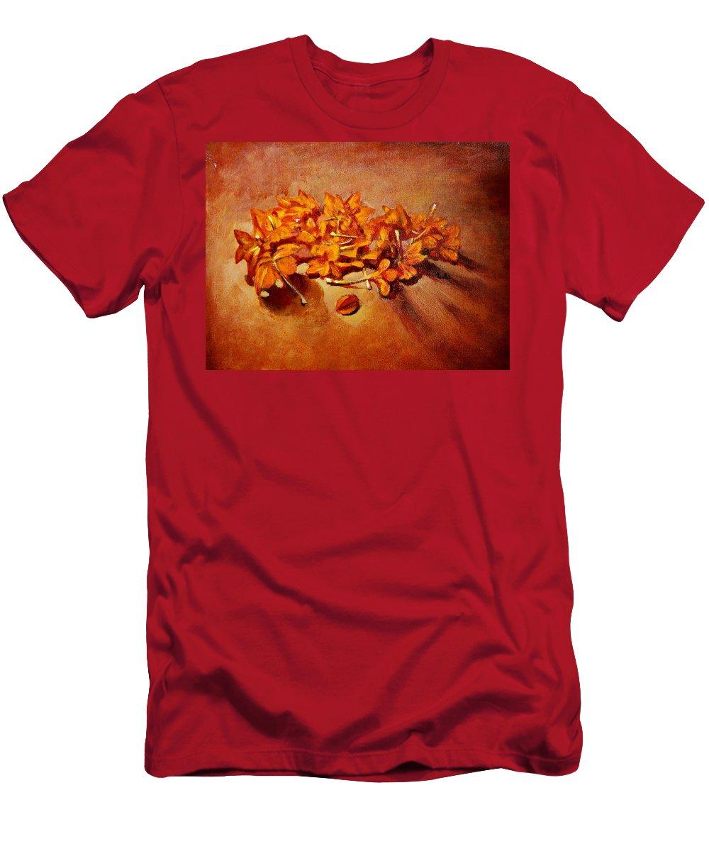 Usha Men's T-Shirt (Athletic Fit) featuring the painting Pretty Little Orange Flowers - Kankaambaram by Usha Shantharam