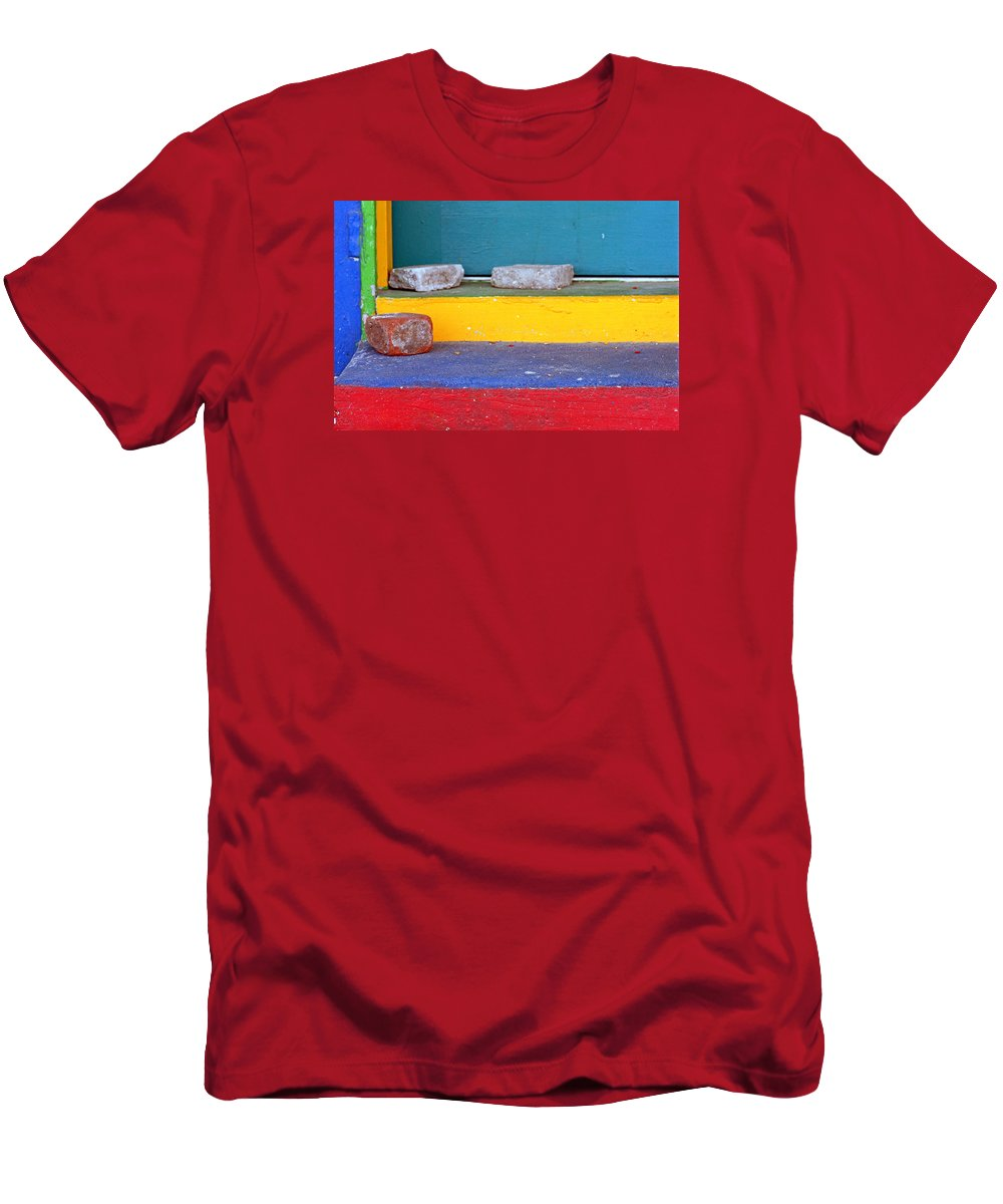 Red Men's T-Shirt (Athletic Fit) featuring the photograph Primary Colored Doorstep by John Harmon