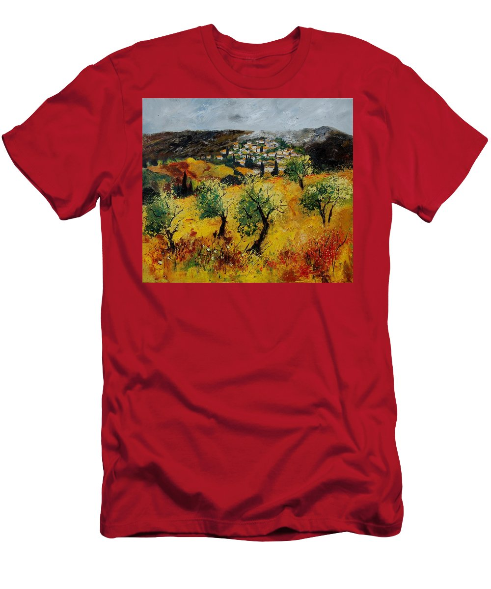 Provence Men's T-Shirt (Athletic Fit) featuring the painting Provence 789080 by Pol Ledent