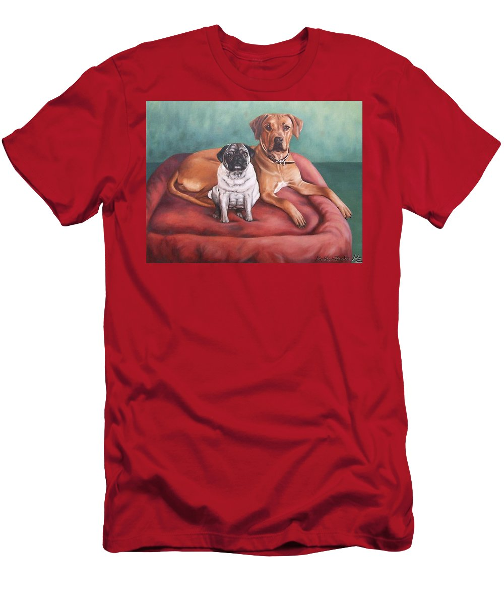 Dogs Men's T-Shirt (Athletic Fit) featuring the painting Pug And Rhodesian Ridgeback by Nicole Zeug