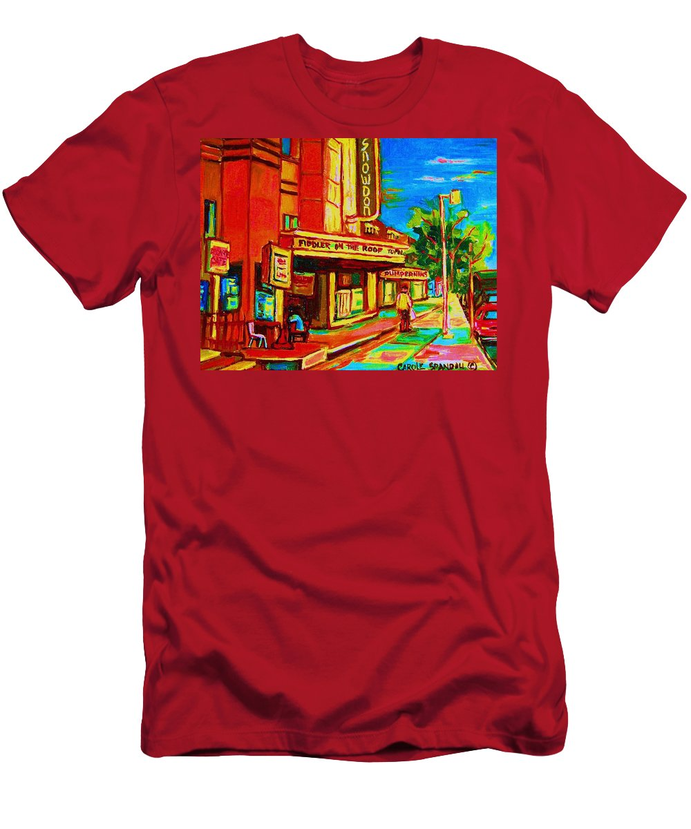 Pumperniks Men's T-Shirt (Athletic Fit) featuring the painting Pumperniks And The Snowdon Theatre by Carole Spandau