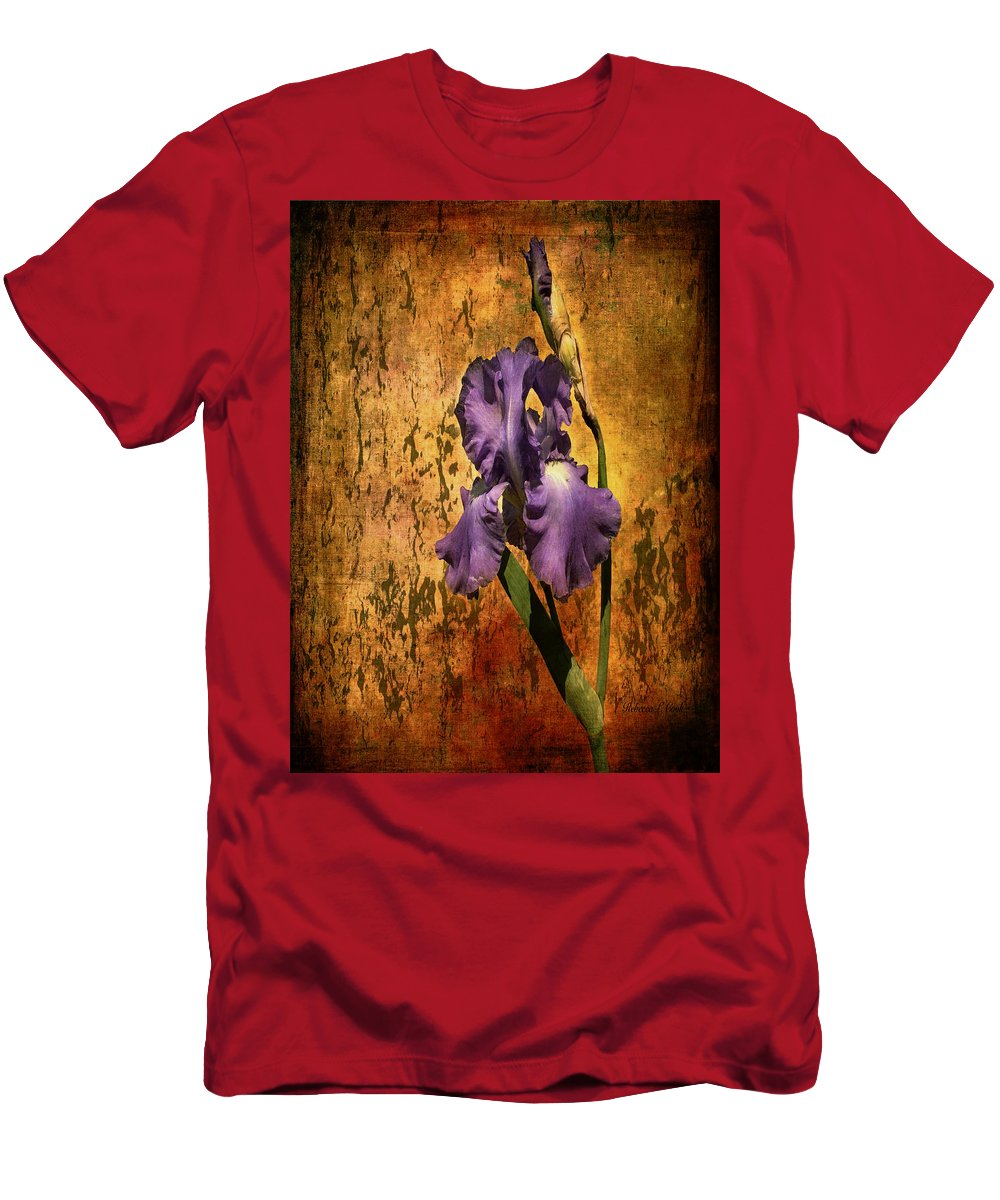 Purple Iris At Sunset Men's T-Shirt (Athletic Fit) featuring the photograph Purple Iris At Sunset by Bellesouth Studio