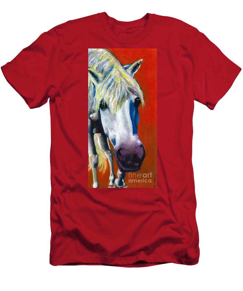 White Horse With Purple Nose Men's T-Shirt (Athletic Fit) featuring the painting Purple Velvet by Frances Marino