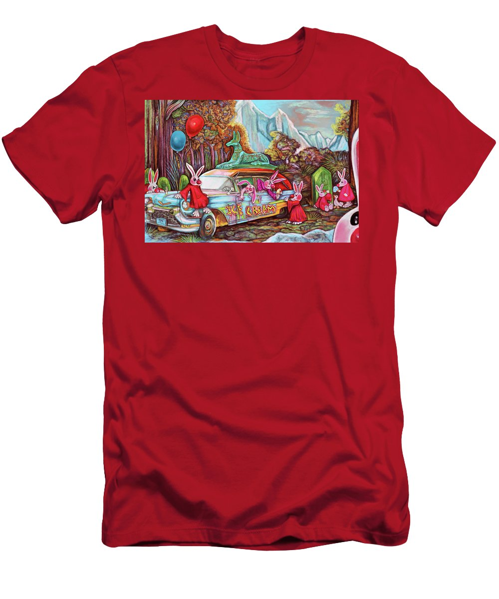 Bunny Men's T-Shirt (Athletic Fit) featuring the digital art Rabbits Selling Ice Cream From A Hearse by Clown Coffins