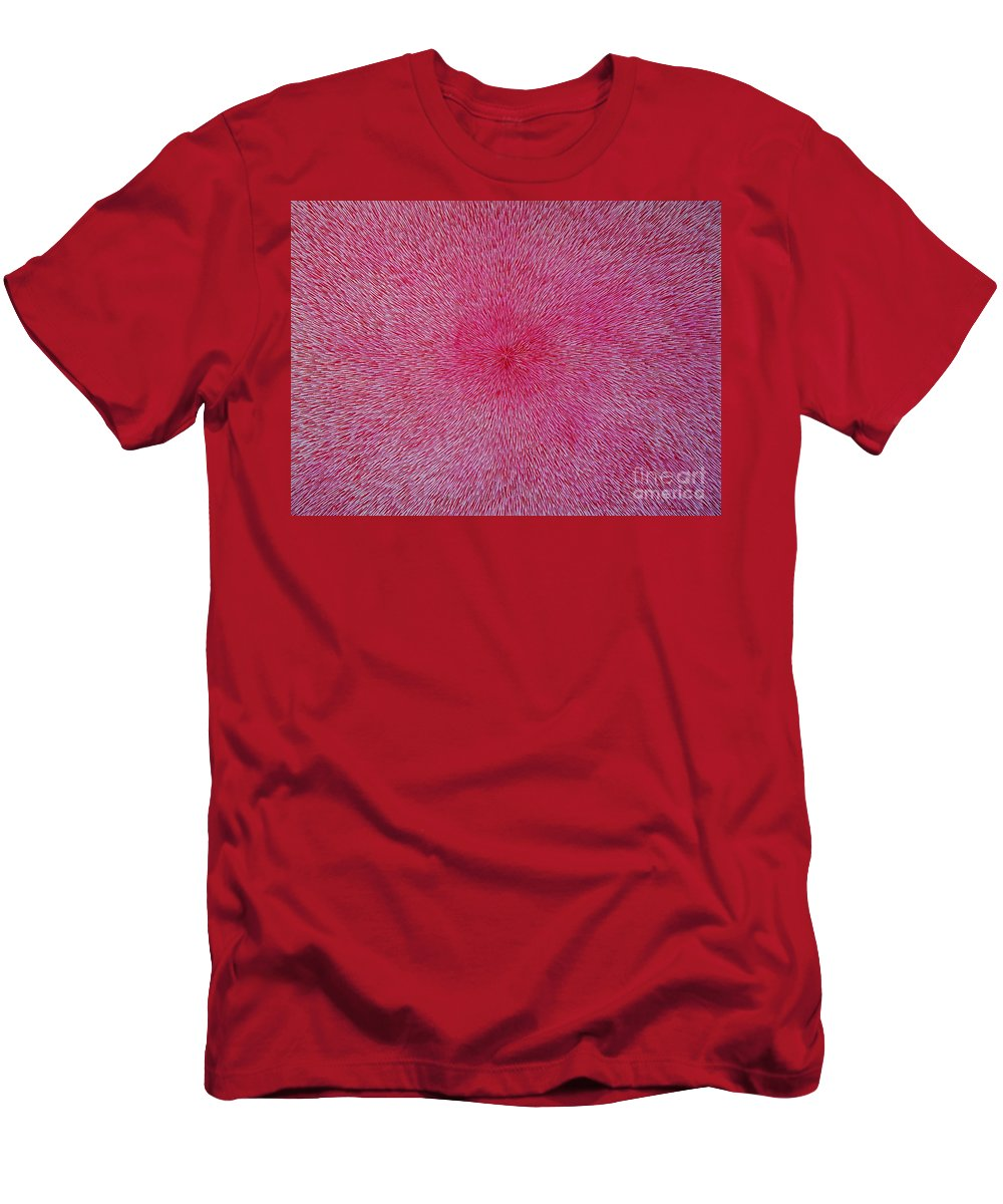 Abstract Men's T-Shirt (Athletic Fit) featuring the painting Radiation With Pink And Magenta by Dean Triolo