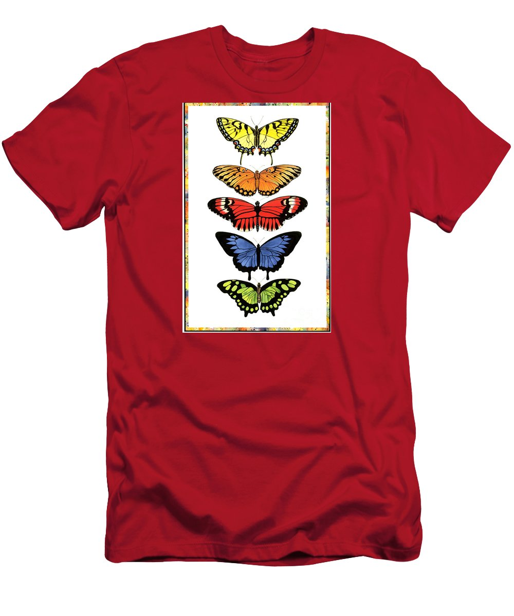 Butterflies T-Shirt featuring the painting Rainbow Butterflies by Lucy Arnold