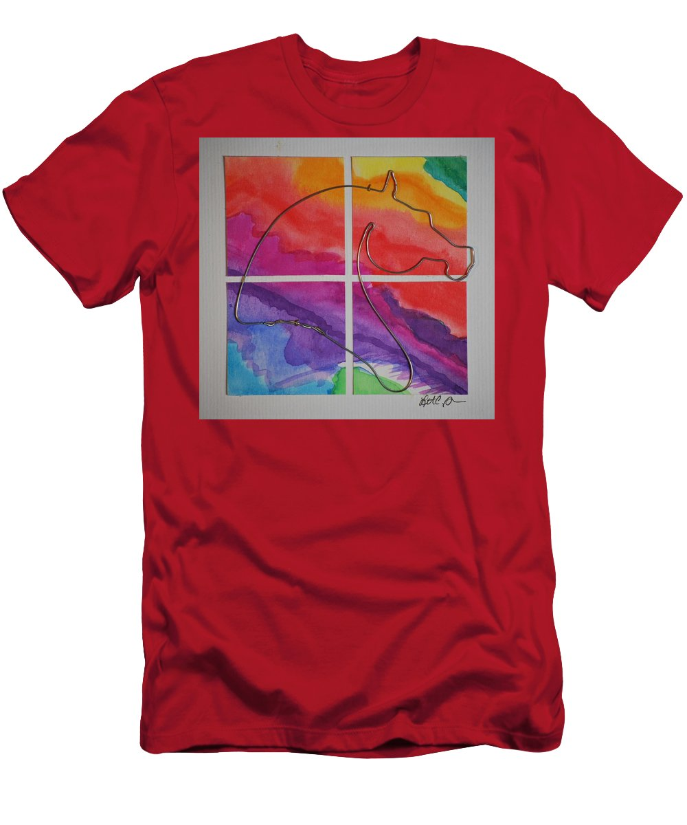 Horse Men's T-Shirt (Athletic Fit) featuring the mixed media Rainbow Window by Leitha Stone