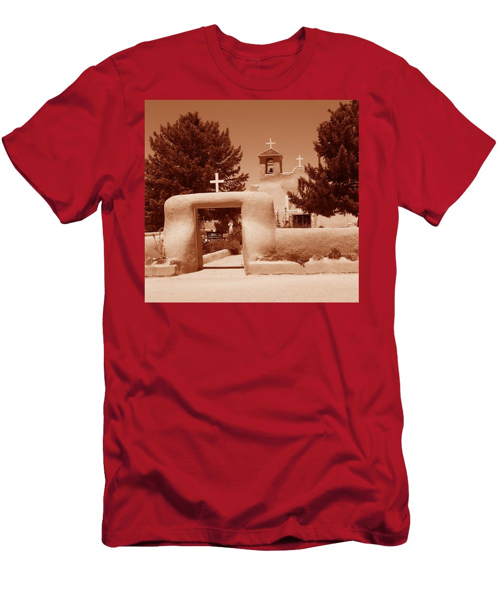 Church Men's T-Shirt (Athletic Fit) featuring the photograph Ranchos De Taos Church  New Mexico by Wayne Potrafka