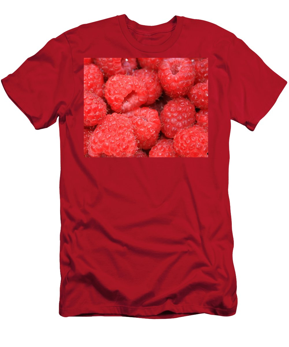 Food Men's T-Shirt (Athletic Fit) featuring the photograph Raspberries Close-up by Carol Groenen