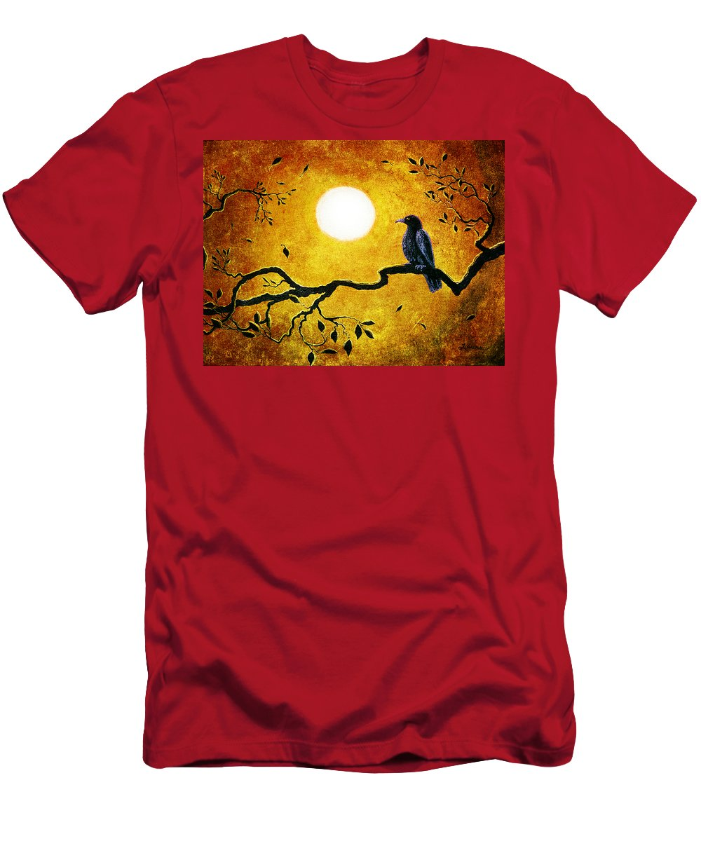 Crow Men's T-Shirt (Athletic Fit) featuring the digital art Raven In Golden Splendor by Laura Iverson