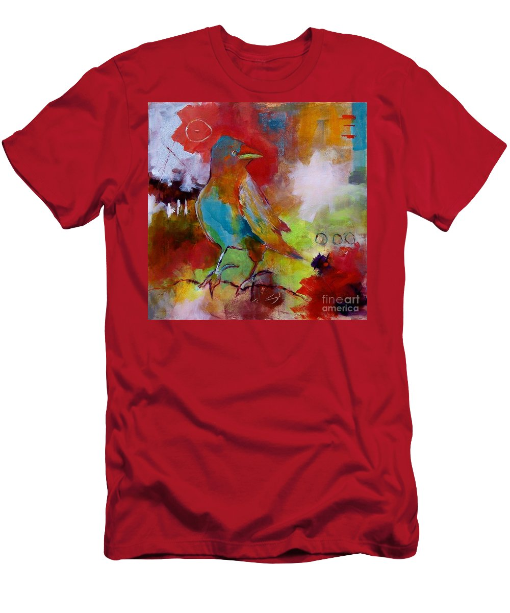 Abstract Art Men's T-Shirt (Athletic Fit) featuring the painting Raven Morgan 004 by Donna Frost