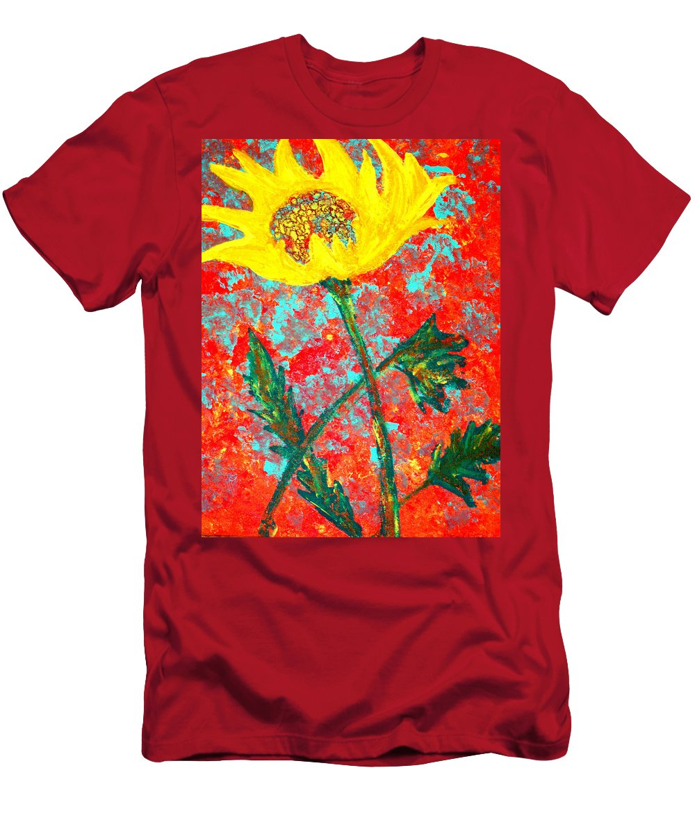 Flower Men's T-Shirt (Athletic Fit) featuring the painting Reaching For The Sun by Wayne Potrafka