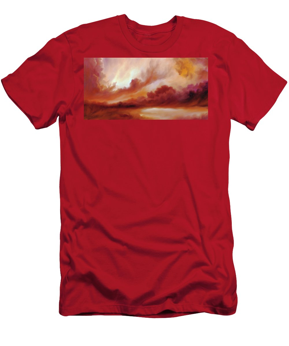 Skyscape Men's T-Shirt (Athletic Fit) featuring the painting Receding Storm Sketch IIi by James Christopher Hill