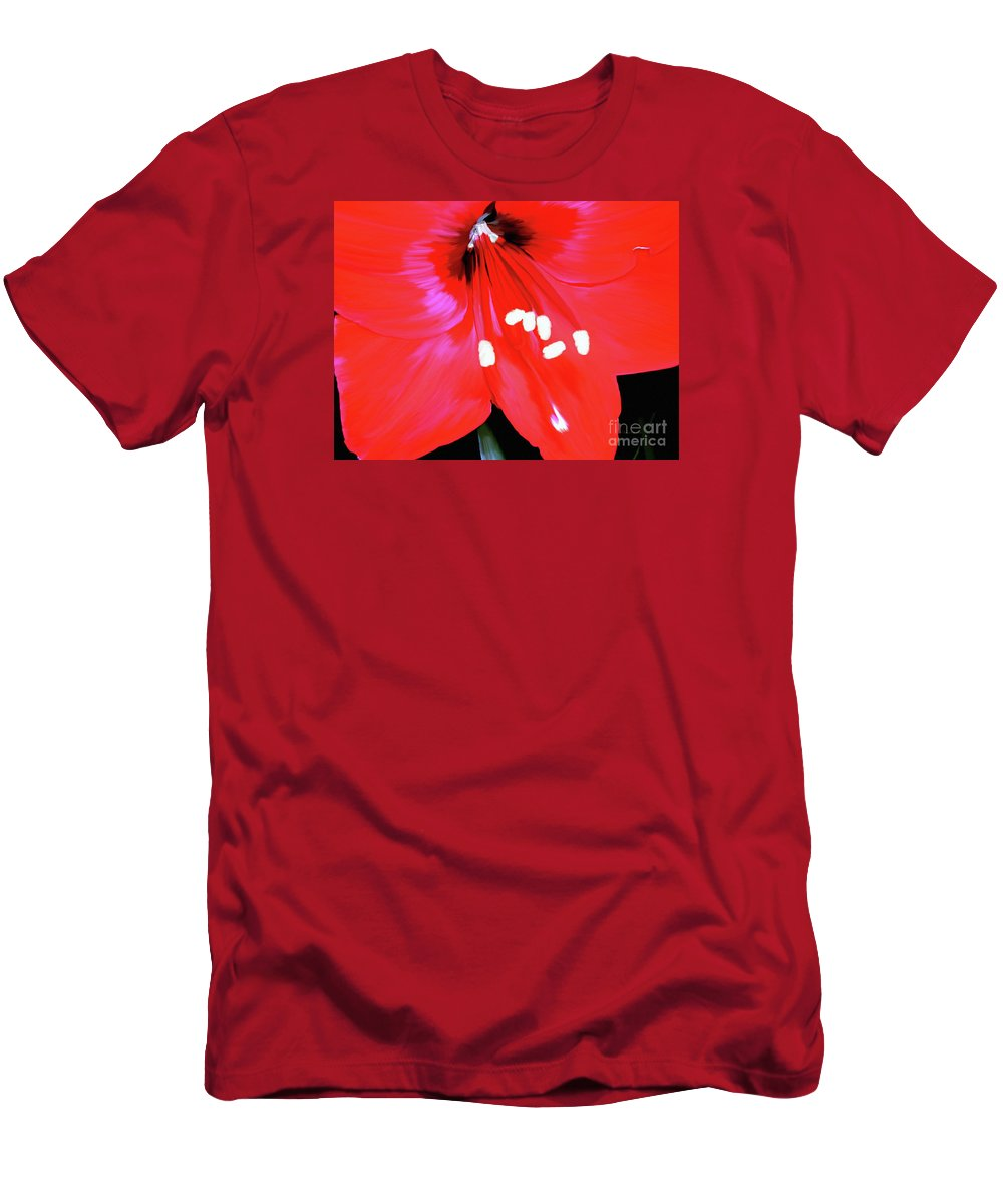 Flower Painting Men's T-Shirt (Athletic Fit) featuring the painting Red Amaryllis by Patricia Griffin Brett
