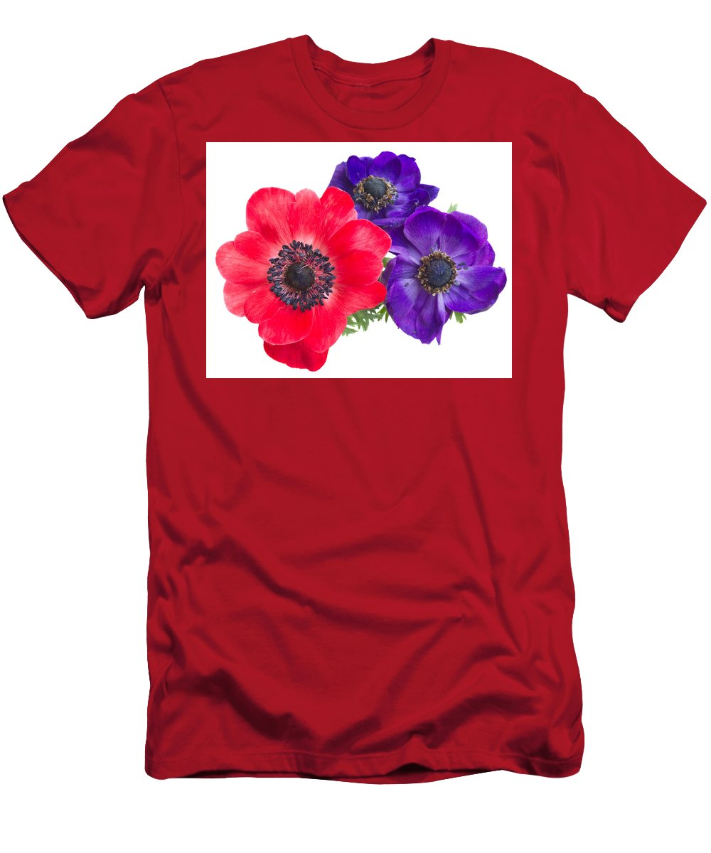 Anemone Men's T-Shirt (Athletic Fit) featuring the photograph Red And Blue Anemone Flowers by Anastasy Yarmolovich