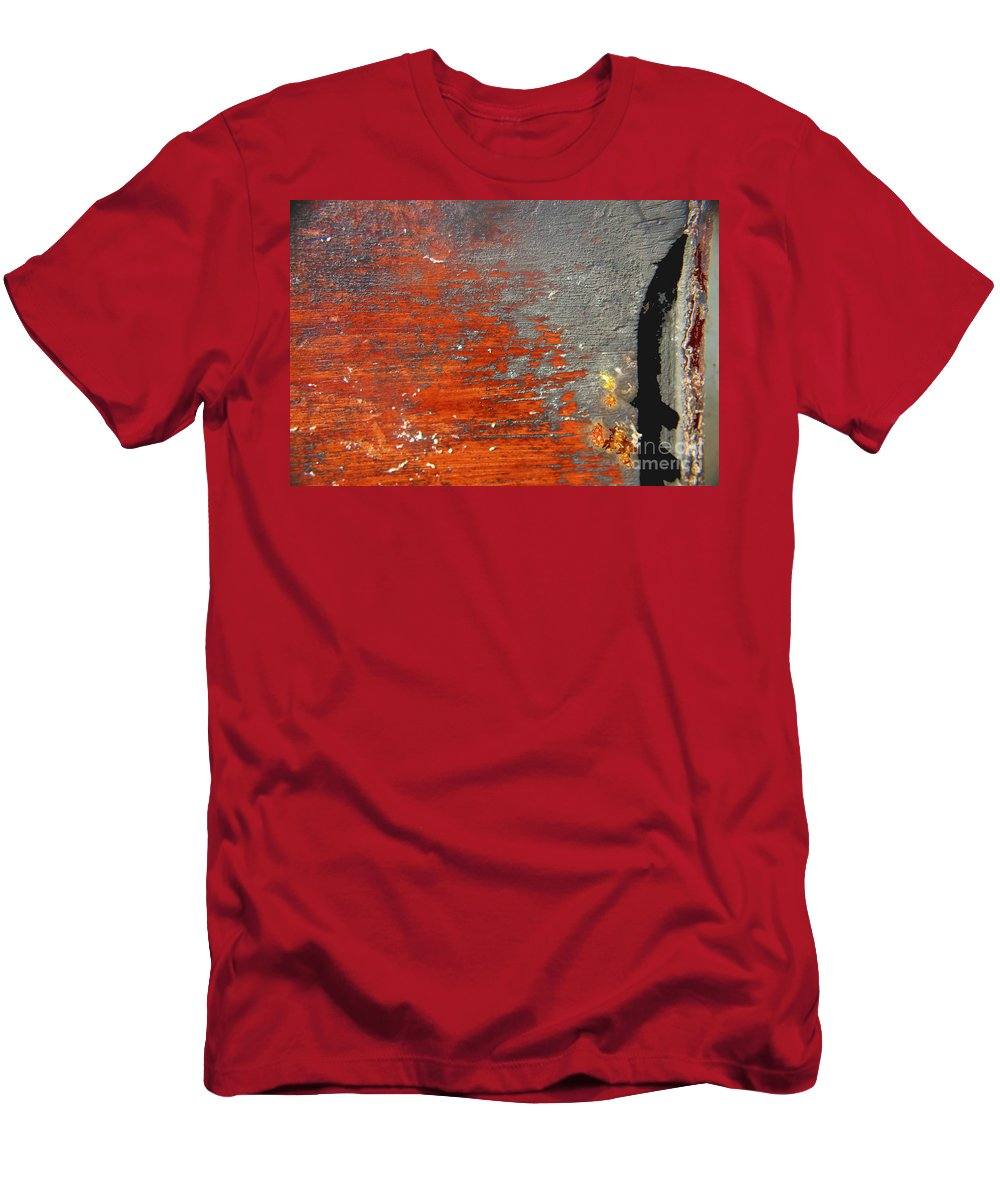 Red Men's T-Shirt (Athletic Fit) featuring the photograph Red And Grey Abstract by Hana Shalom