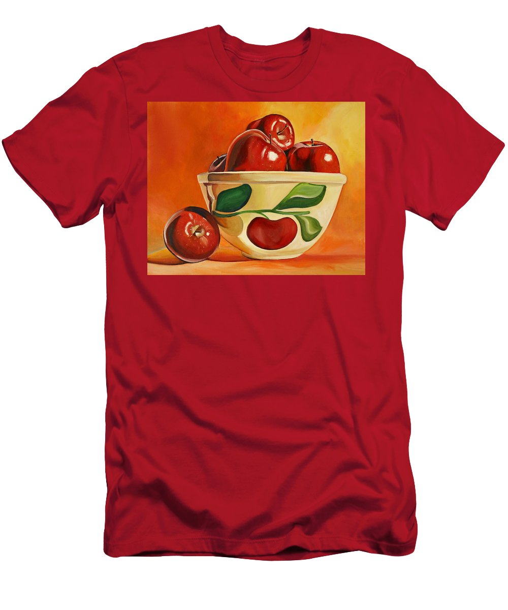 Apples Men's T-Shirt (Athletic Fit) featuring the painting Red Apples In Vintage Watt Yellowware Bowl by Toni Grote