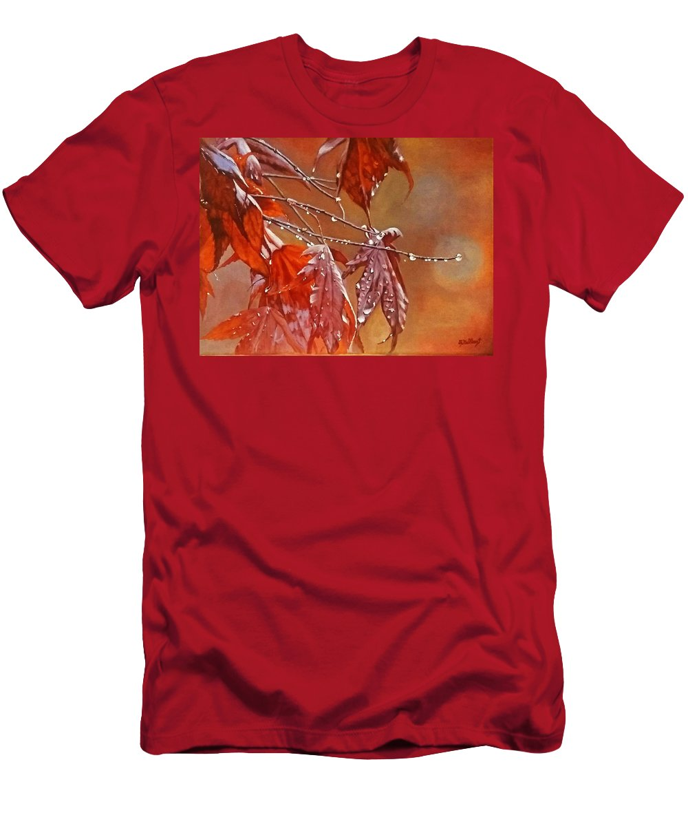 Acrylic Men's T-Shirt (Athletic Fit) featuring the painting Red Autumn by Sheryl Gallant