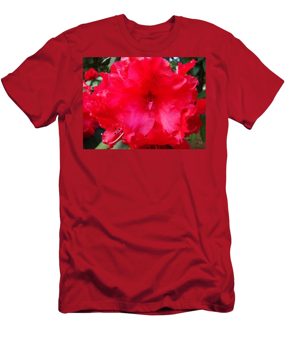 �azaleas Artwork� Men's T-Shirt (Athletic Fit) featuring the photograph Red Azaleas Flowers 4 Red Azalea Garden Giclee Art Prints Baslee Troutman by Baslee Troutman