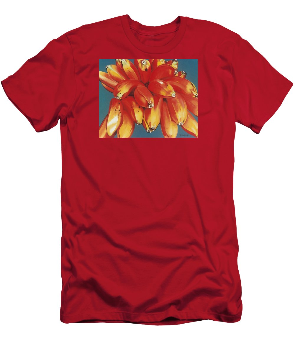 Hyperrealism Men's T-Shirt (Athletic Fit) featuring the painting Red Bananas Of Jocotepec by Michael Earney