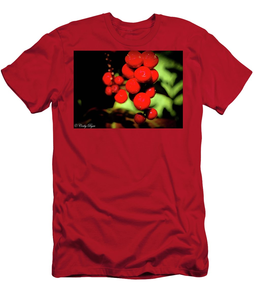 Flower Men's T-Shirt (Athletic Fit) featuring the photograph Red Berries by Corky Byer
