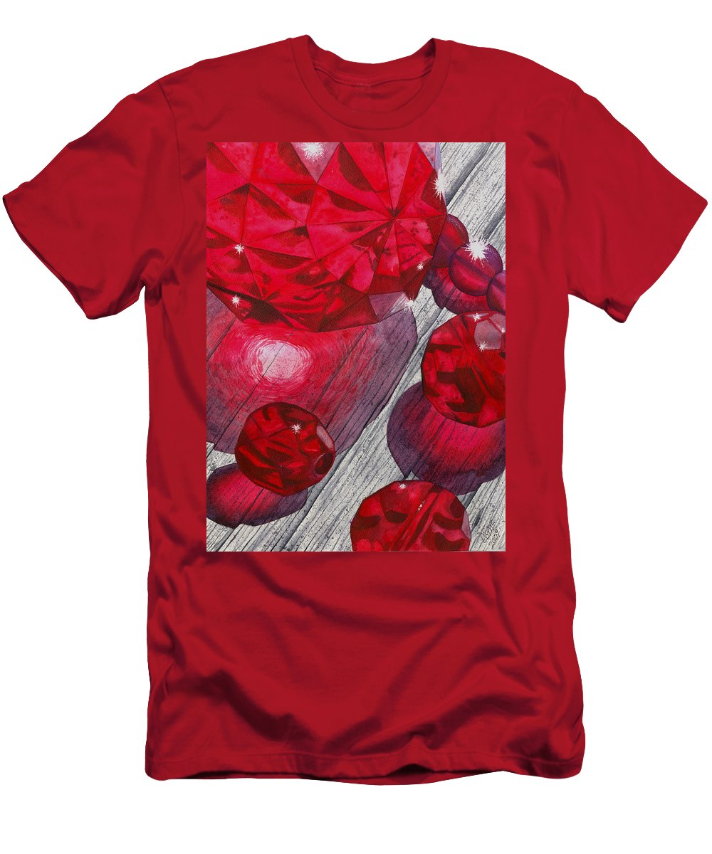 Red Men's T-Shirt (Athletic Fit) featuring the painting Red by Catherine G McElroy
