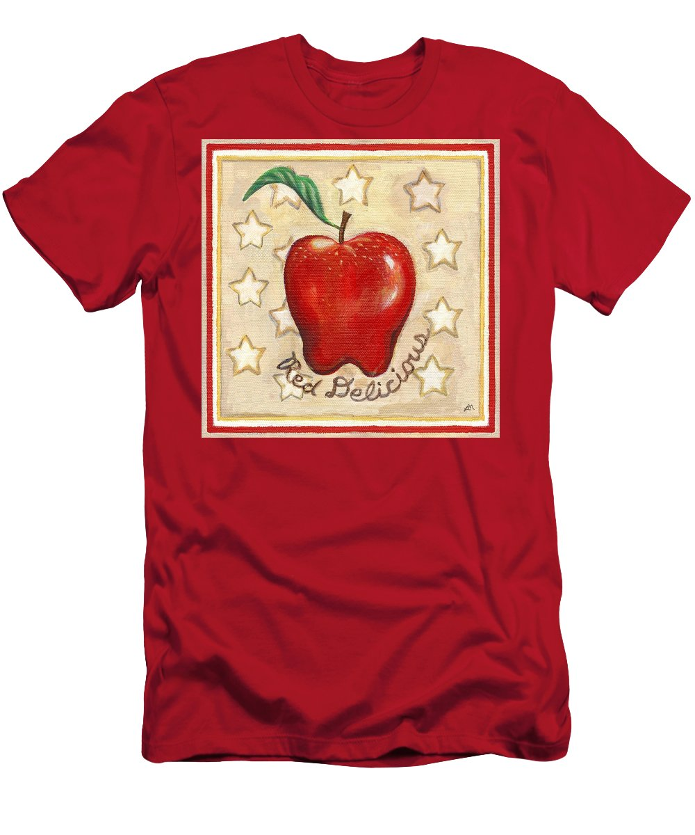 Still Life Men's T-Shirt (Athletic Fit) featuring the painting Red Delicious Two by Linda Mears