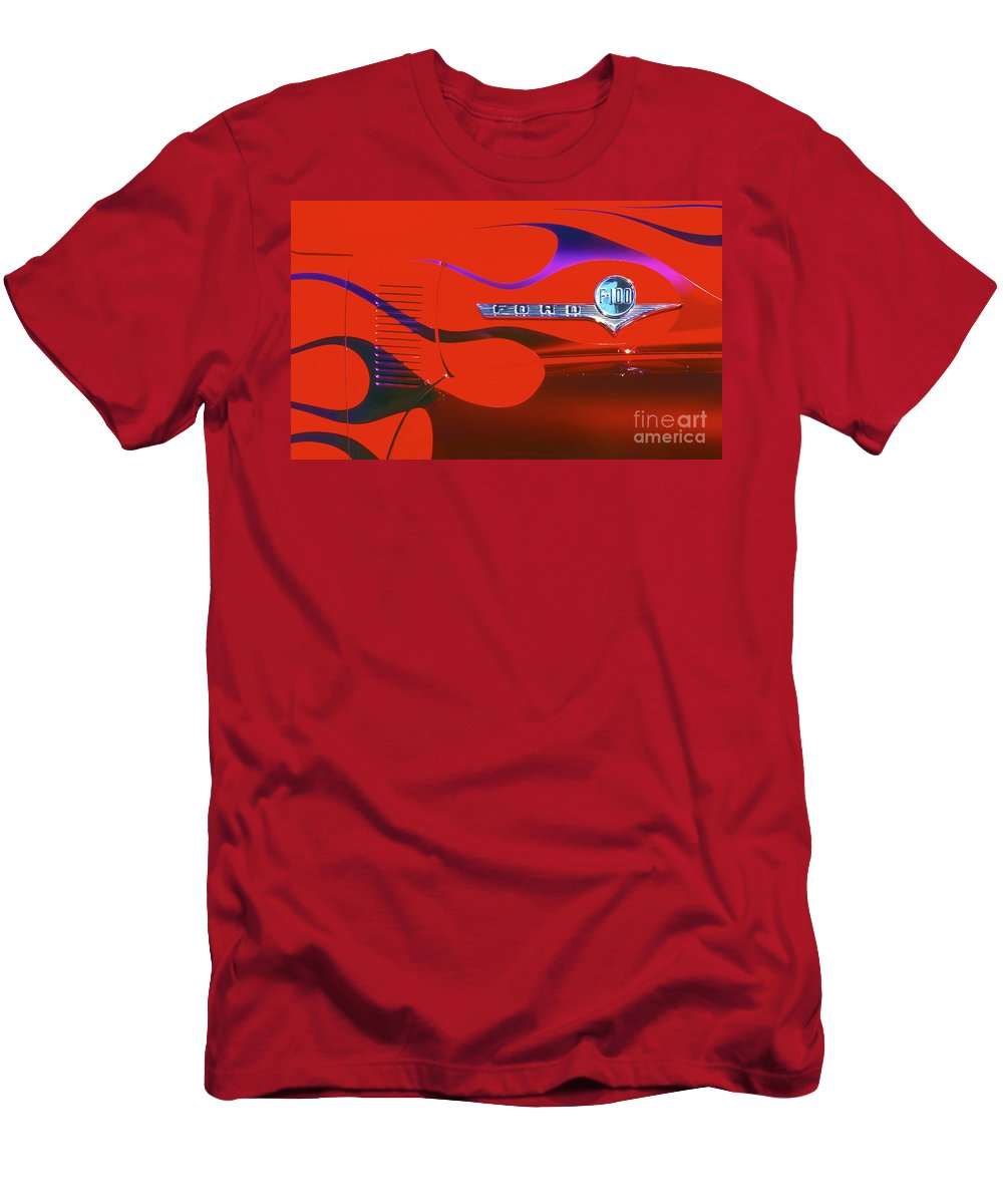 Ford Men's T-Shirt (Athletic Fit) featuring the photograph Red F-100 by Paul W Faust - Impressions of Light