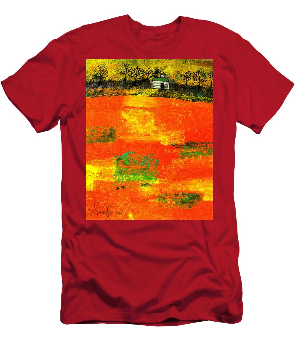 Rural Men's T-Shirt (Athletic Fit) featuring the painting Red Fields by Wayne Potrafka