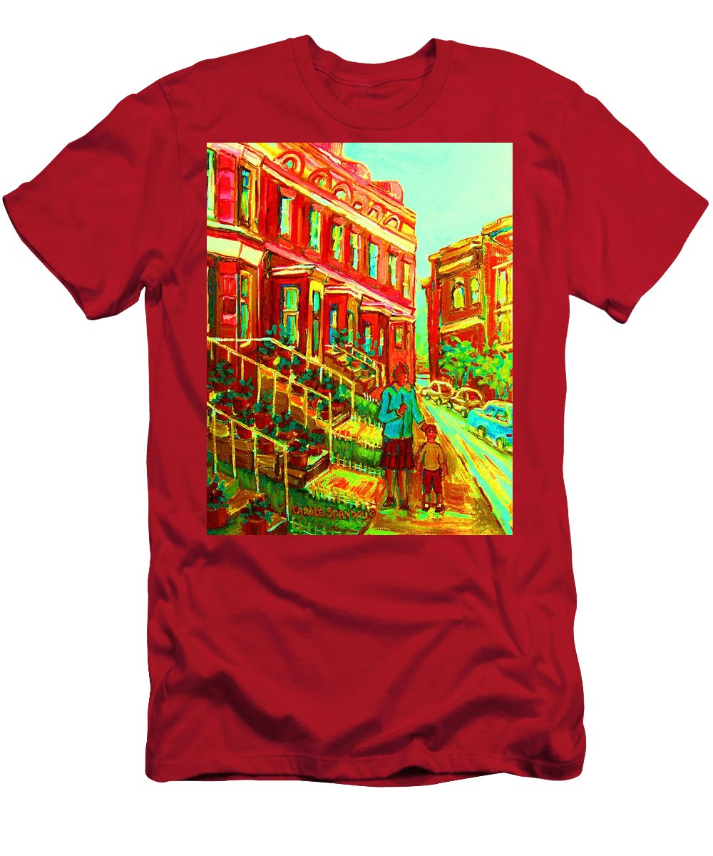Geraniums Men's T-Shirt (Athletic Fit) featuring the painting Red Geraniums by Carole Spandau