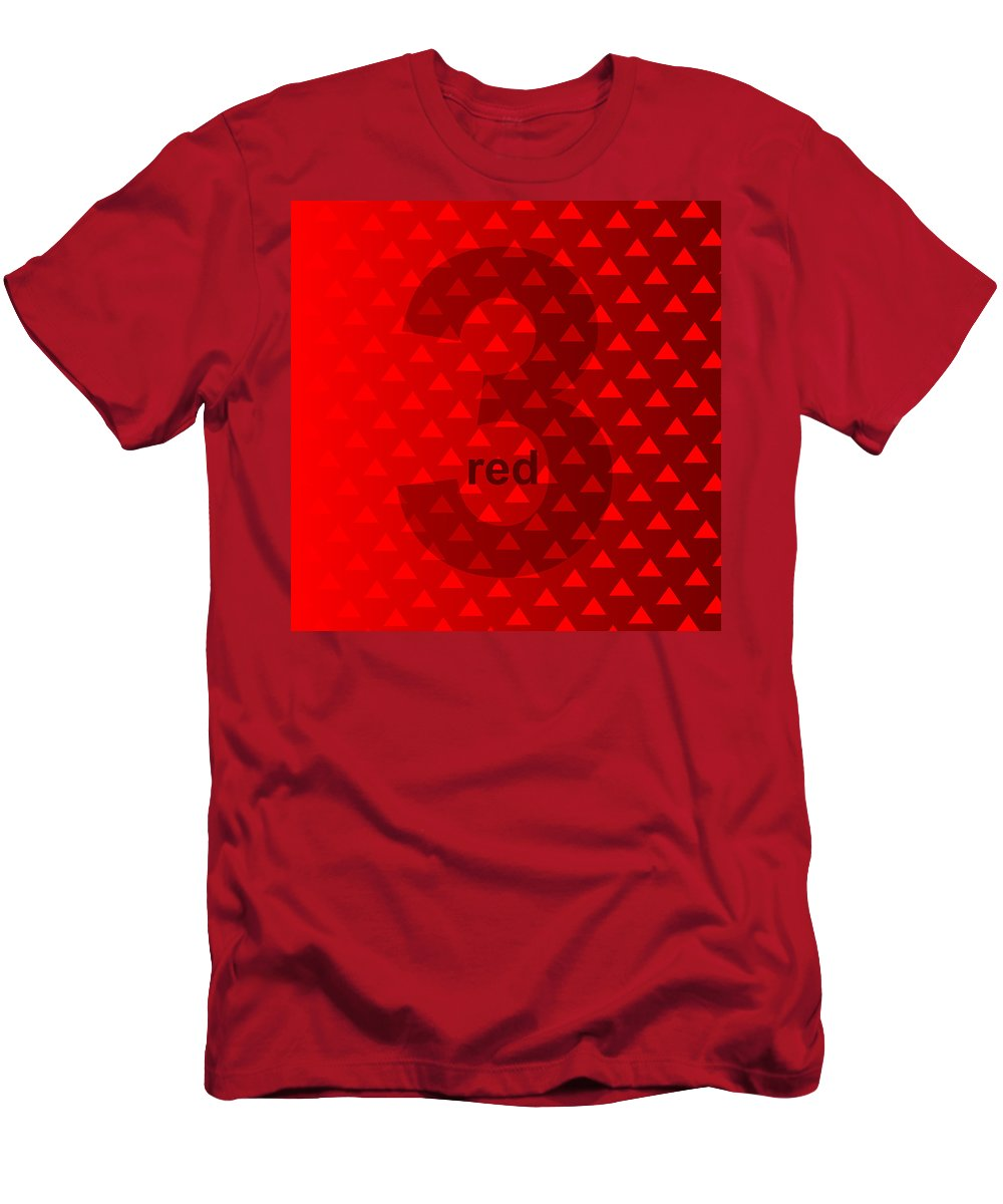 Three Men's T-Shirt (Athletic Fit) featuring the digital art Red God Three by Maciej Mackiewicz