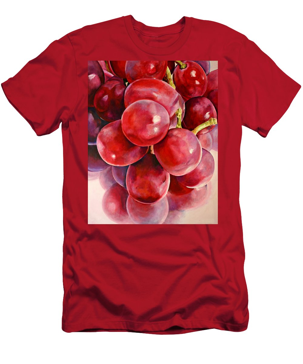 Red Men's T-Shirt (Athletic Fit) featuring the painting Red Grape Reflections by Toni Grote