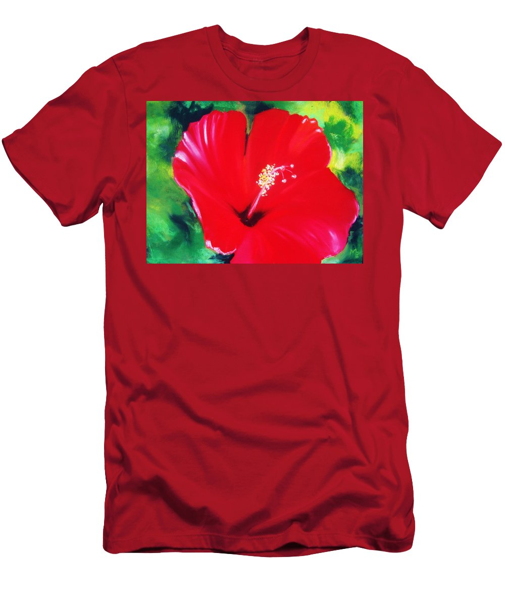 Bright Flower Men's T-Shirt (Athletic Fit) featuring the painting Red Hibiscus by Melinda Etzold