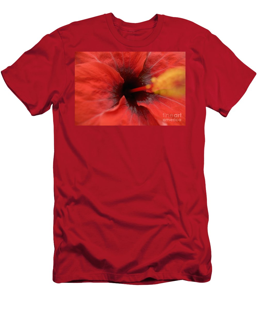 Above Men's T-Shirt (Athletic Fit) featuring the photograph Red Hibiscus by Tomas del Amo - Printscapes