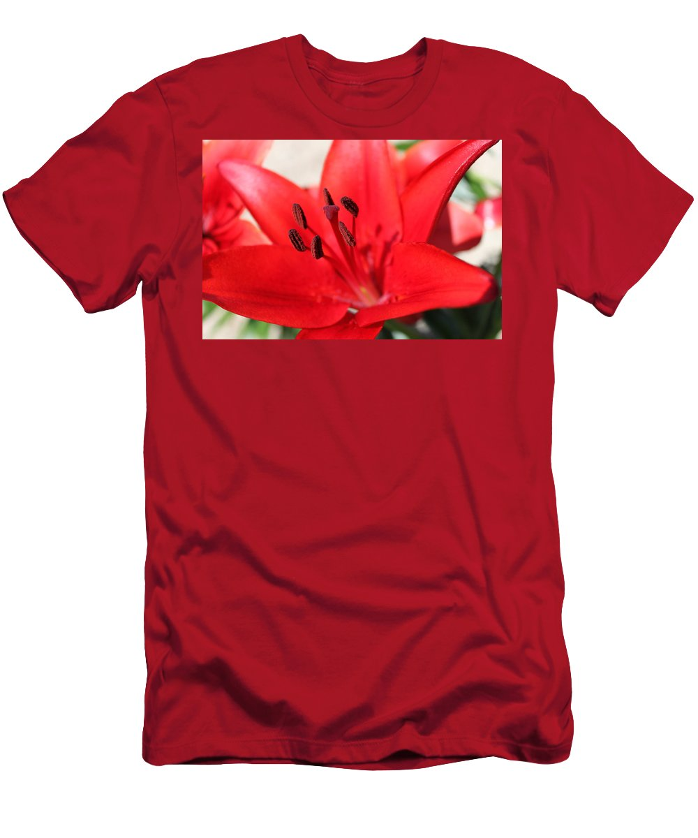 Lilly Men's T-Shirt (Athletic Fit) featuring the photograph Red Lilly by Lauri Novak