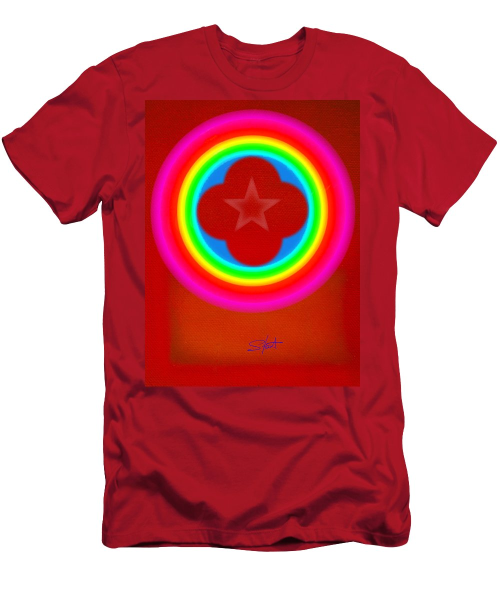 Landscape Men's T-Shirt (Athletic Fit) featuring the painting Red Logo by Charles Stuart