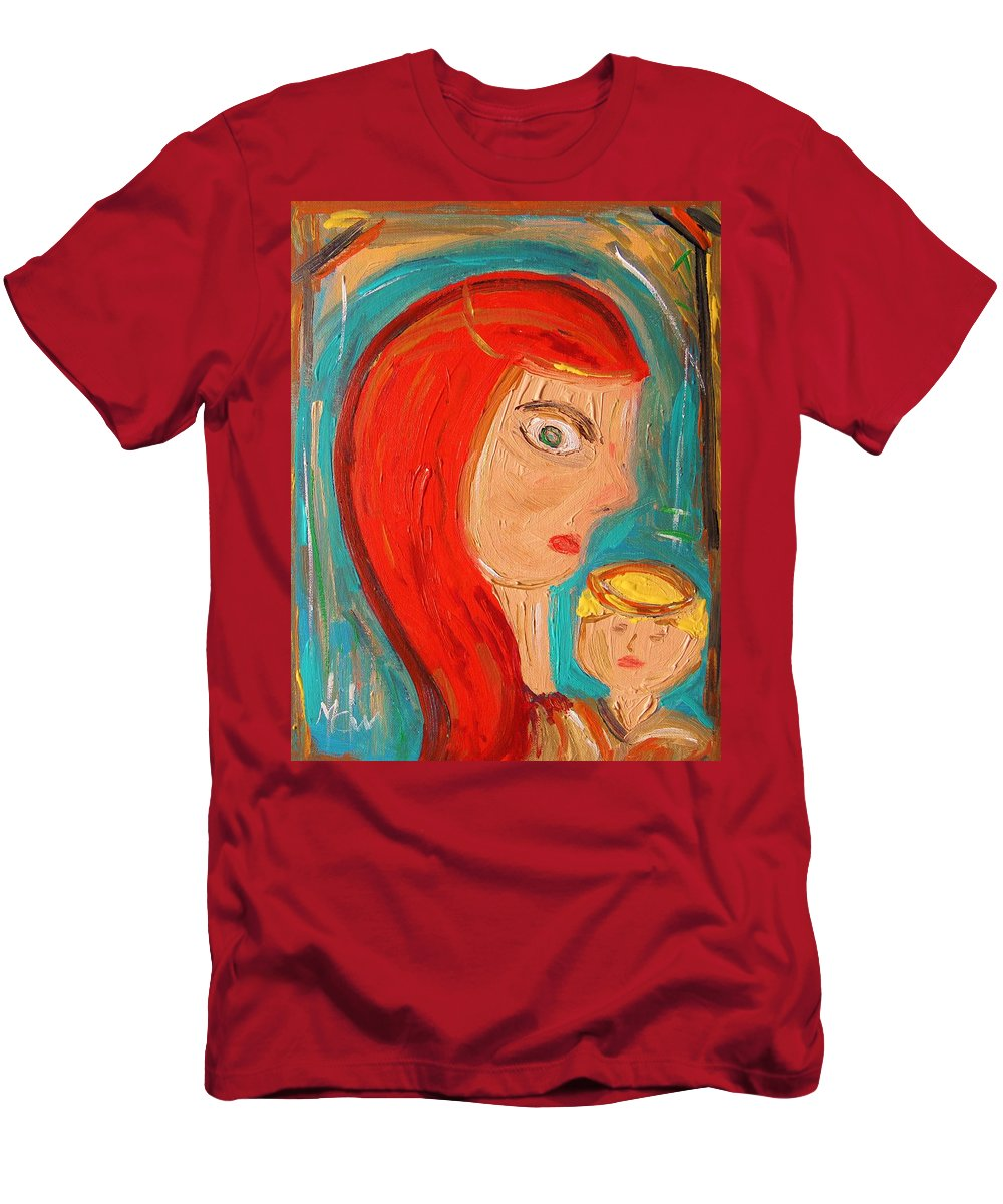 Red Men's T-Shirt (Athletic Fit) featuring the painting Red Madonna by Mary Carol Williams