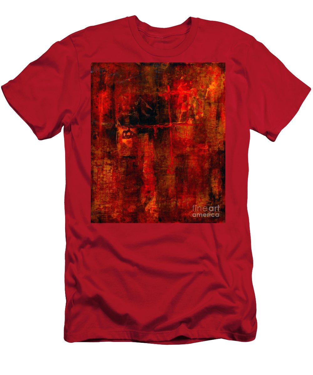Abstract Painting Men's T-Shirt (Athletic Fit) featuring the painting Red Odyssey by Pat Saunders-White