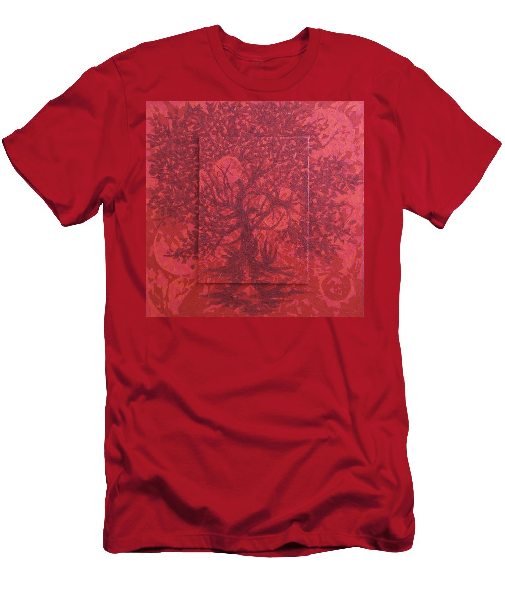 Red Men's T-Shirt (Athletic Fit) featuring the painting Red Planet by Judy Henninger
