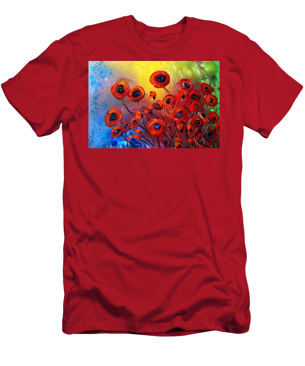 Flowers Men's T-Shirt (Athletic Fit) featuring the painting Red Poppies In Rain by Luiza Vizoli