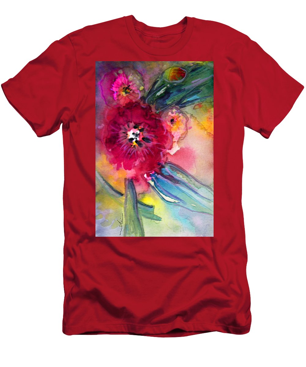 Red Flowers Men's T-Shirt (Athletic Fit) featuring the painting Red Power by Miki De Goodaboom