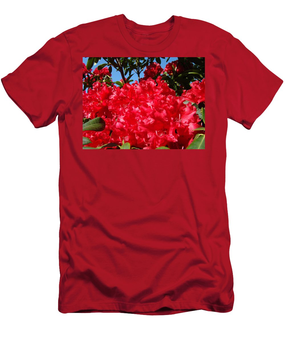 Nature T-Shirt featuring the photograph Red Rhododendron Flowers Floral art prints Baslee by Patti Baslee