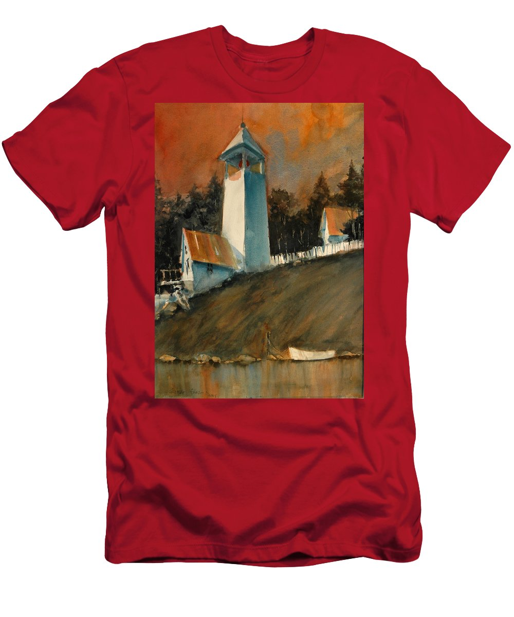 Lighthouse T-Shirt featuring the painting Red Sky at Mprning... by Charles Rowland