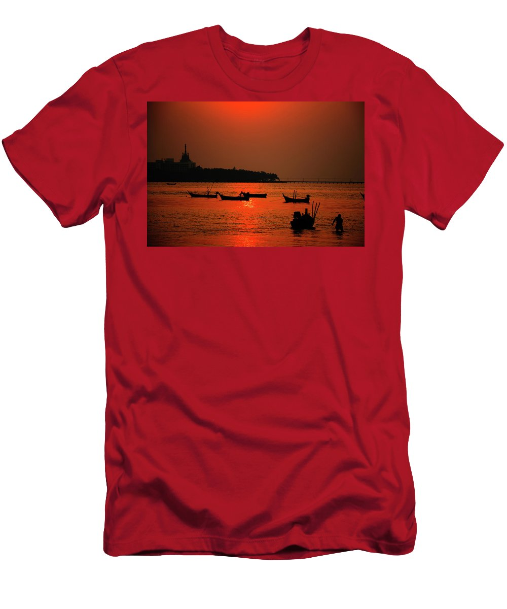 Red Men's T-Shirt (Athletic Fit) featuring the photograph Red Sunset by Oleg Ver